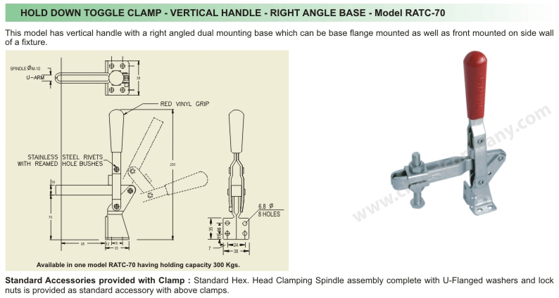 Right Angle Base : Chand company hold down toggle clamp vertical handle
